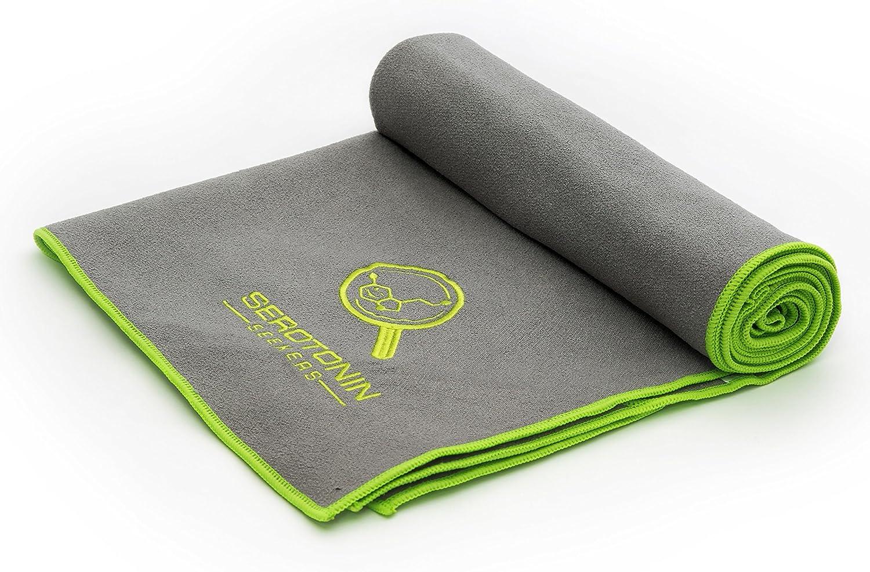 Amazon Com Serotonin Seekers Yoga Towel Beach Towel Sports Towel Corner Pockets Non Slip Microfibre With Free Mesh Carry Bag Suitable For Bikram Yoga Perfect For Sun Loungers For Mats 72 X 24