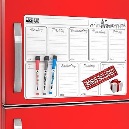 Calendario mensual magnético de borrado en seco para refrigerador ...