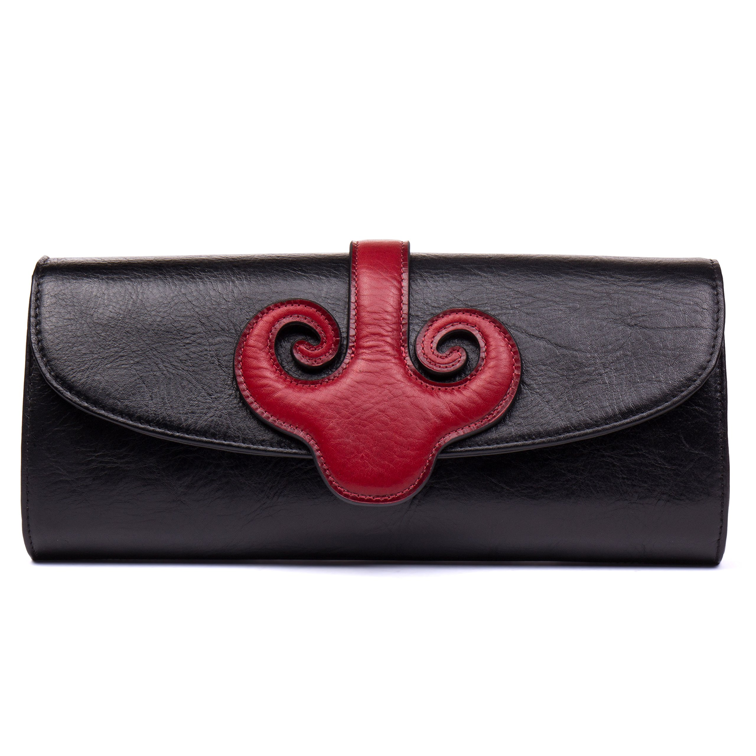 Malirona Vintage Evening Clutch Purses Envelope Clutch Bag Shouler Bag Women's Handbag (Black) by Malirona