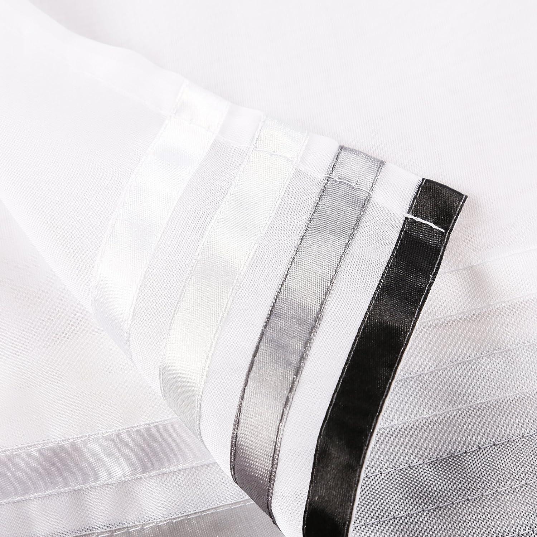 Yujiao Mao 1er Pack Voile Scheibengardine Mit Window Treatments & Hardware Curtains, Drapes & Valances hxb 45x120cm weiß/pink