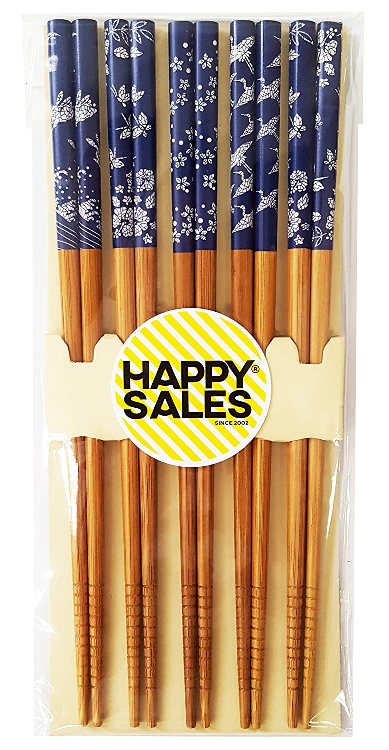 Happy Sales HSCH86/S, 5 Pairs of Origami Design Blue and White Wooden Chopsticks