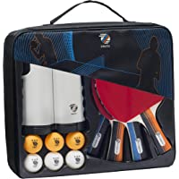ZIRUTZI Table Tennis Set with Retractable Ping Pong Net – Table Tennis Paddles Set (4 Table Tennis Rackets) - 6 Ping Pong Balls - Premium Carrying Case - Complete Bundle Play Anywhere