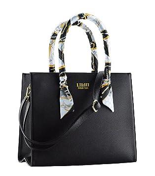 5f12dc57f05fe LI HI Elegant Handtaschen Damen Handtasche Schwarz Schule Shopper Damen  Groß Schwarz Marken Handtaschen mit zwei Exquisit