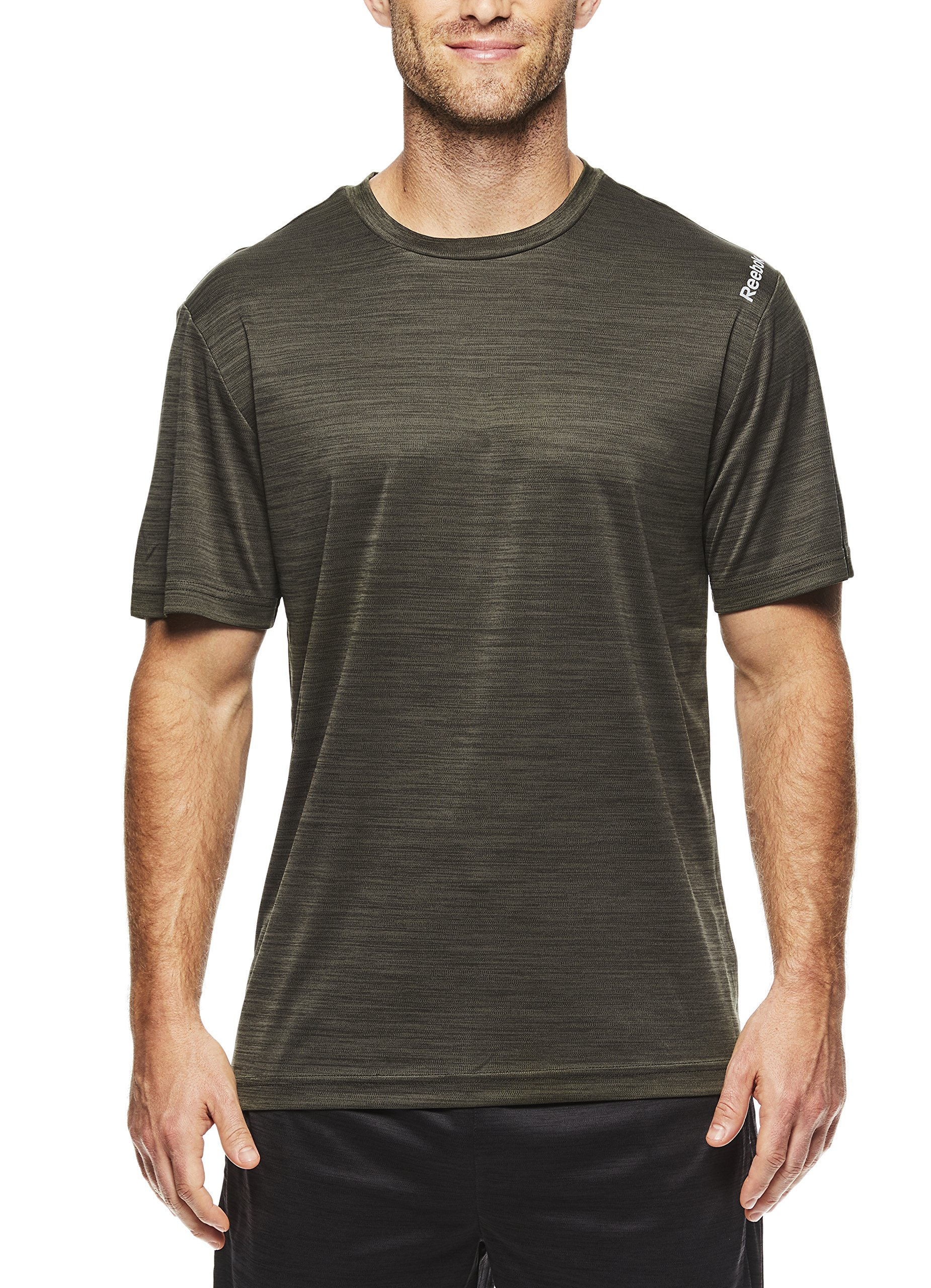 Reebok Men's Supersonic Crewneck Workout T-Shirt Designed with Performance Material - Army Green Space Dye, Small