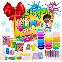 DIY Slime Kit for Girls Boys - Ultimate Glow in the Dark Glitter Xmas Slime Making Kit - Slime Kits Supplies include Big Foam Beads Balls, 18 Mystery Box Containers filled w Crystal Powder Slime