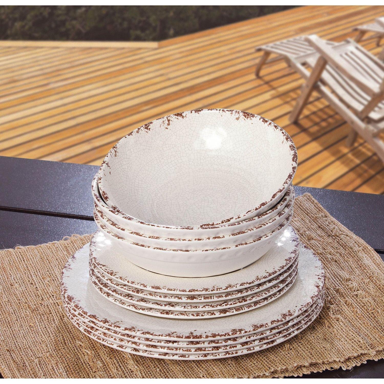 & Amazon.com | Melamine Dinnerware 12PC Set (Cream): Dinnerware Sets