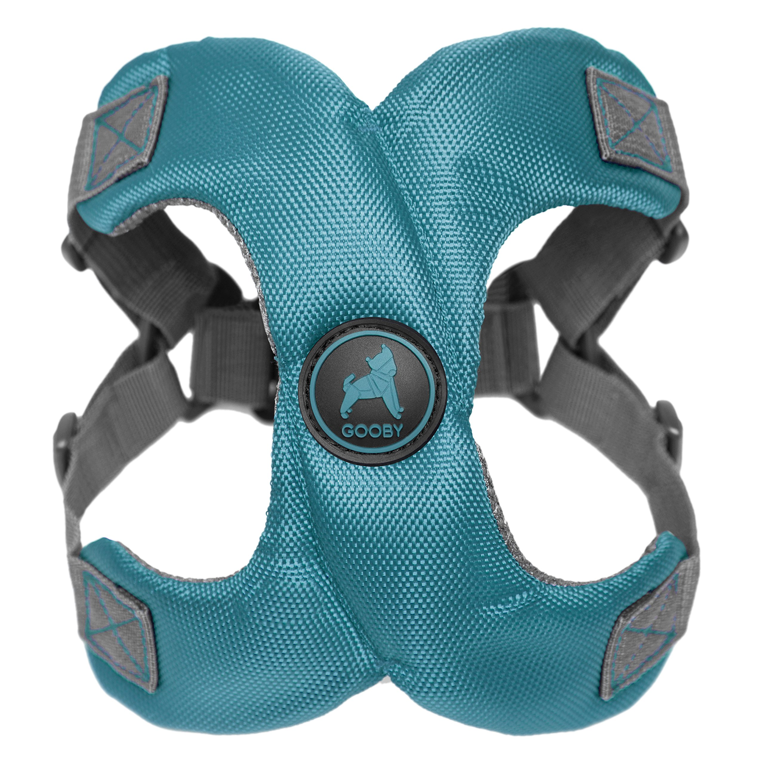 [Old Version] Gooby Escape Free Memory Foam Harness for Small Dogs, Turquoise, Large