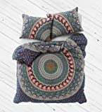 """New Exclusive Range of Queen Size 100% Cotton Duvet Cover Set With Pillow Covers By """"The Boho Street"""", Indian Reversible Duvet Quilt Cover Coverlet Bohemian Doona Cover Handmade Duvet Cover 82"""" x 92"""""""