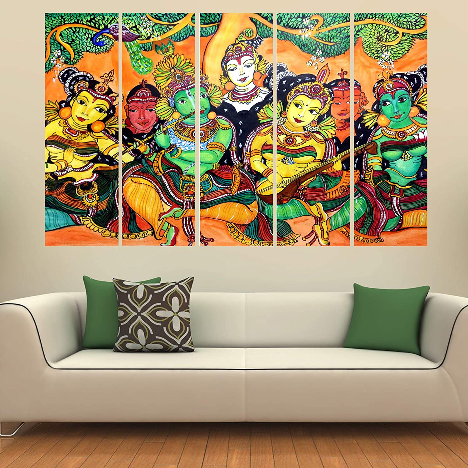 Kyara Arts Multiple Frames Beautiful Kerala Mural Art Painting For Living Room Bedroom Office Hotels Drawing Room Wooden Framed Digital Painting 50inch X 30inch Amazon In Home Kitchen