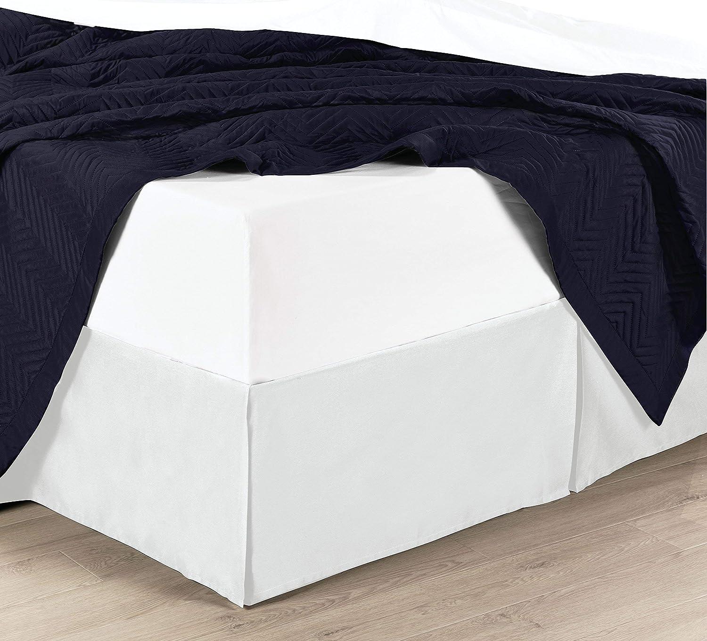 ソリッドコットンブレンドwrinkle-free bed-skirt、プリーツベッドスカートwith 15