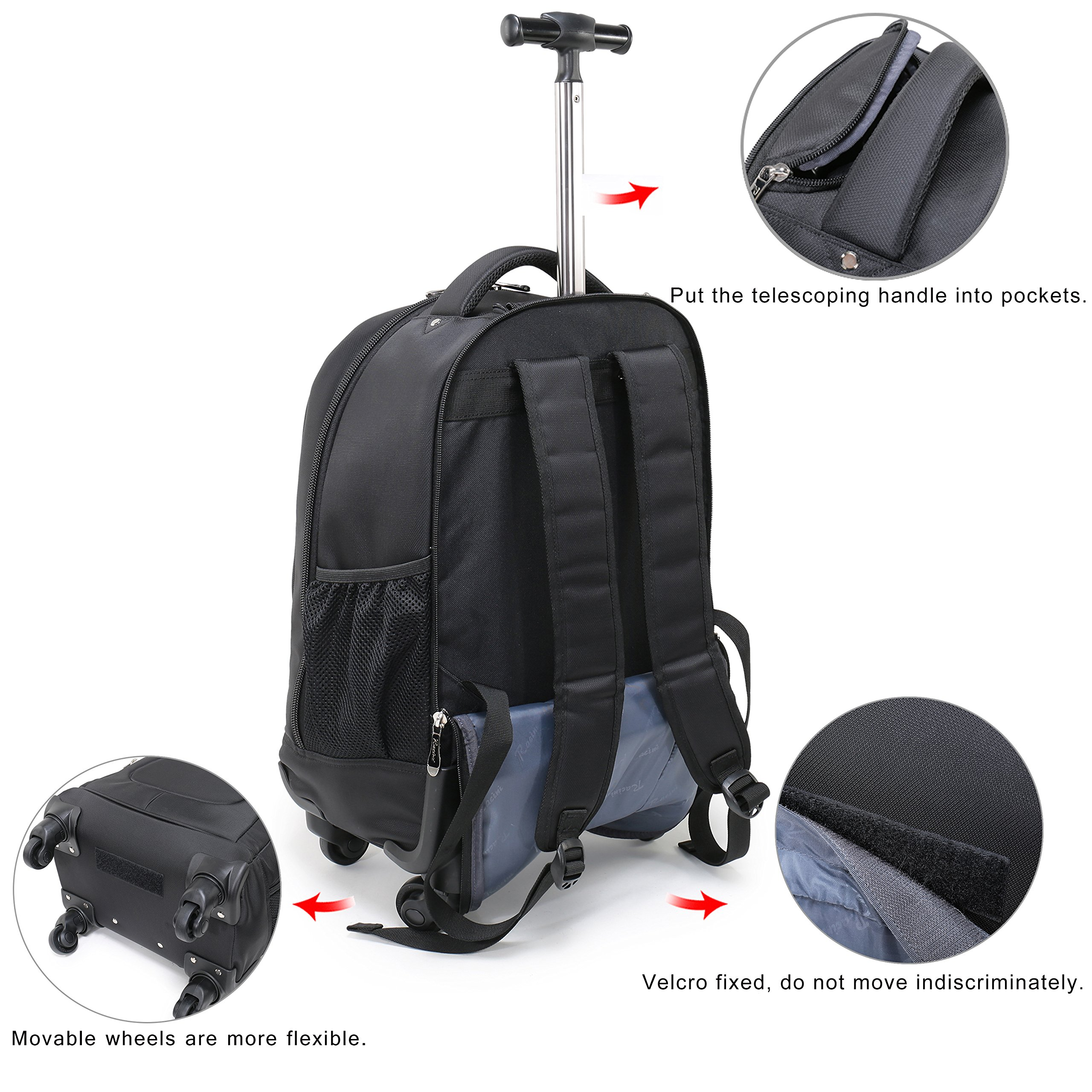 Racini Nylon Waterproof Rolling Backpack, Freewheel Travel School Wheeled Backpack, Carry-on Luggage with Anti-theft Zippers (Black) by Racini (Image #5)