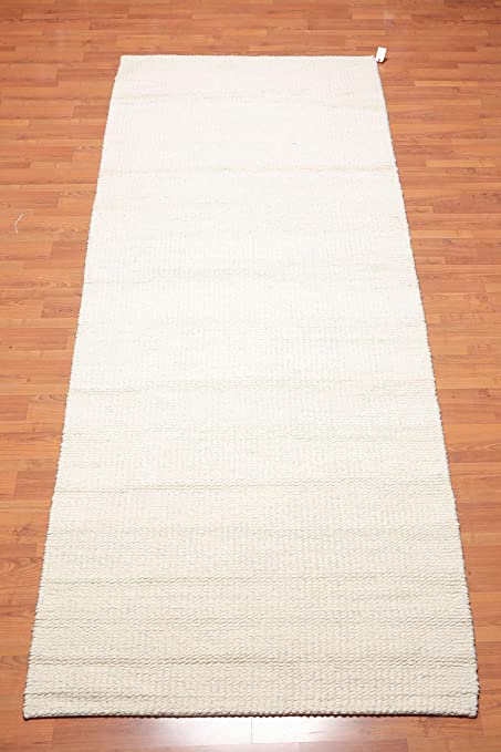 Amazon Com 4 4 X13 4 Ivory Color Hand Knotted Pile Area
