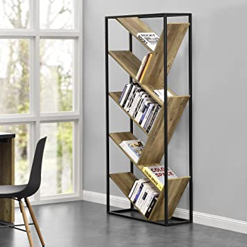 en.casa]® Design Bücherregal- Wohnzimmer Regal - Holzfarben ...