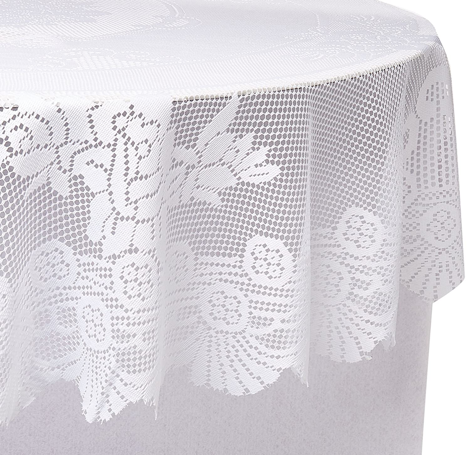 70 Inch Round Table Cloth.Ritz 100 Polyester Linen Tablecloth Easy Care Floral Lace Round 70 Inch Round White