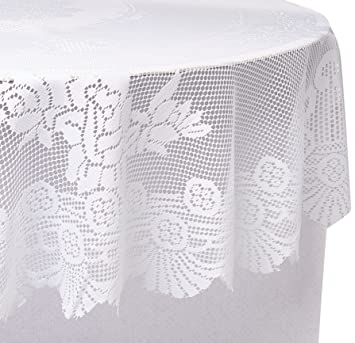 Ritz 100% Polyester Linen Tablecloth, Easy Care Floral Lace, Round, 70