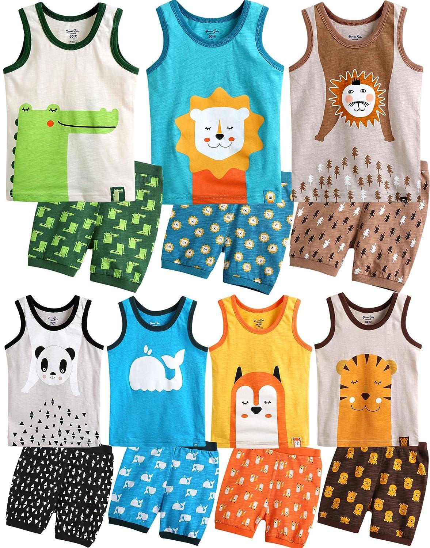 Vaenait baby 74-120 Kinder Jungen 2pcs Aermellose Bekleidungssets Schlafanzug Animal SWS_093b