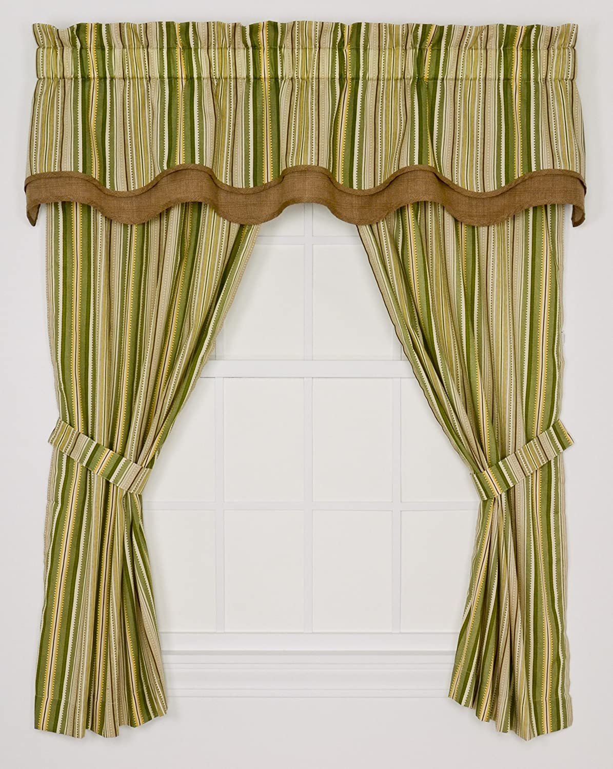 Ellis Curtain Kensington Stripe 68-By-63 Inch Tailored Panel Pair Curtains with Tiebacks, Green Stripe