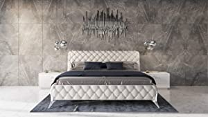 Limari Home Breanna Collection Modern Style Bedroom Bonded Leather Diamond Tufted Bed With Polished Stainless Steel Legs, Queen, White & Silver