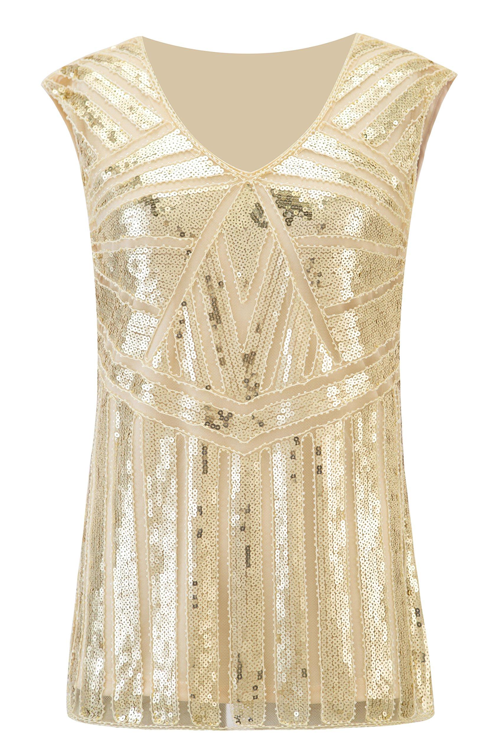 6b3d2c7bbf5ee4 Galleon - Metme Women Vintage V Neck Slight Loose Flashy Sequin Sparkly  Vest Tops Tank Tops Champagne