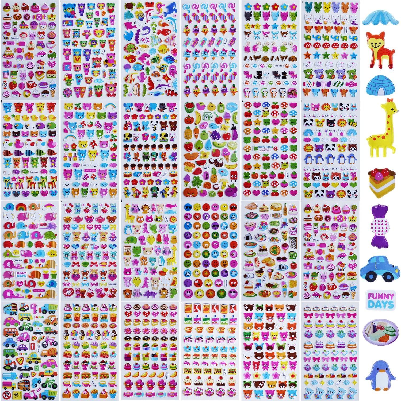 MKISHINE 24 Feuilles 3D autocollants pour Scrapbooking,Scrapbooking stickers de d/écoration pour t/él/éphone portable ordinateur portable,Loisirs Creatifs,Scrapbooking Materiel pour Enfants