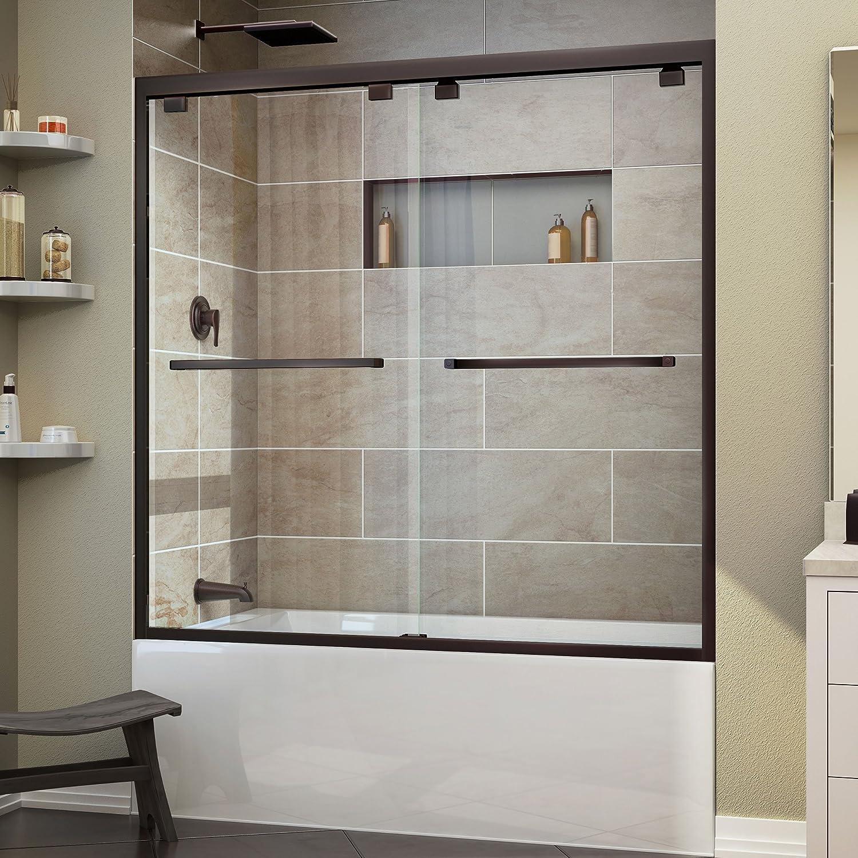 Bathroom shower sliding doors - Width Frameless Bypass Sliding Tub Door 5 16 Glass Oil Rubbed Bronze