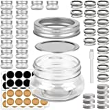 Mini Mason Jars Round 4 oz - Small Canning Glass Jars with Lids - 16 Pack Cute Jars with 40 Labels & Chalk Marker, Clear…