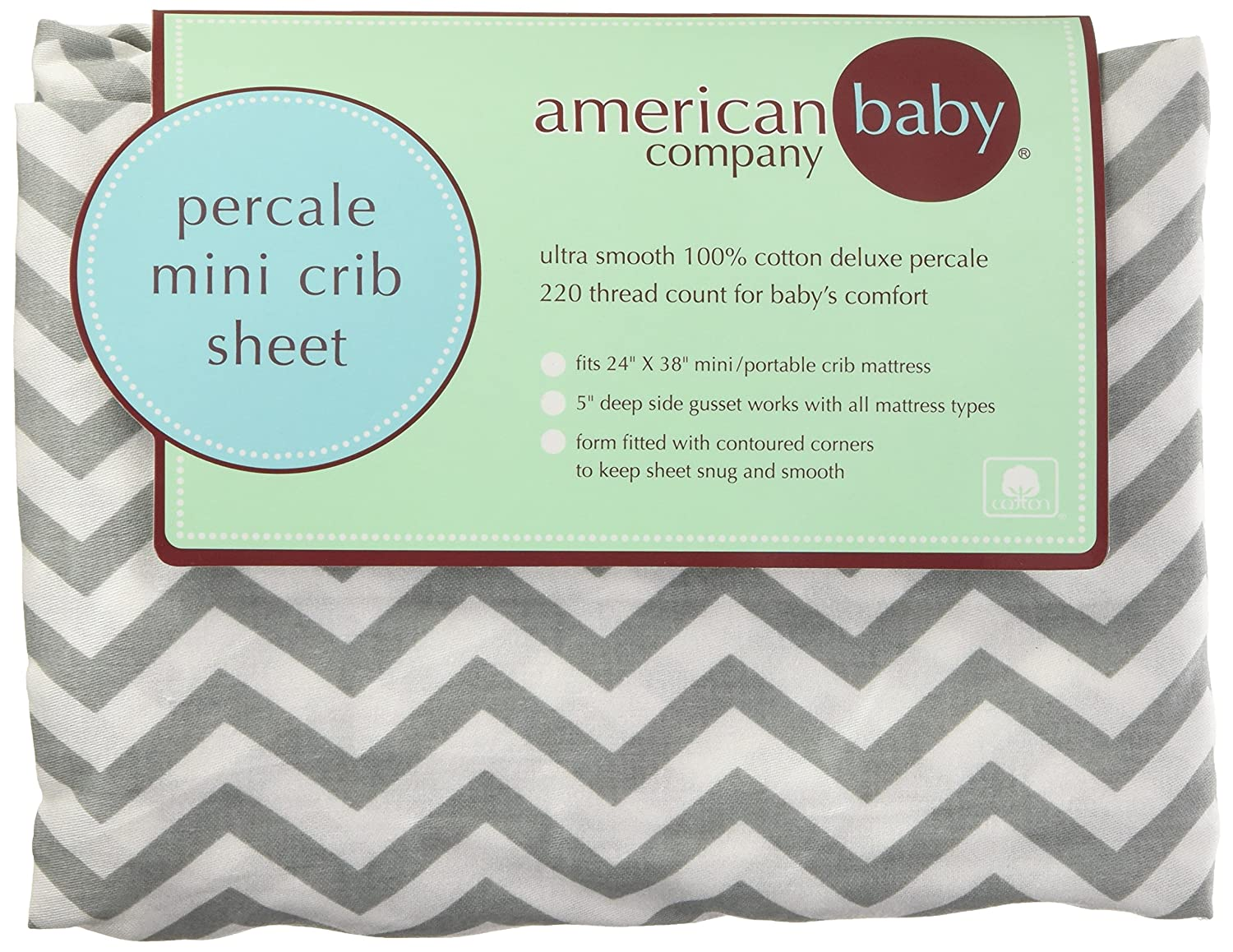 american baby company 100percent cotton percale fitted crib sheet zigzag grey amazonca baby