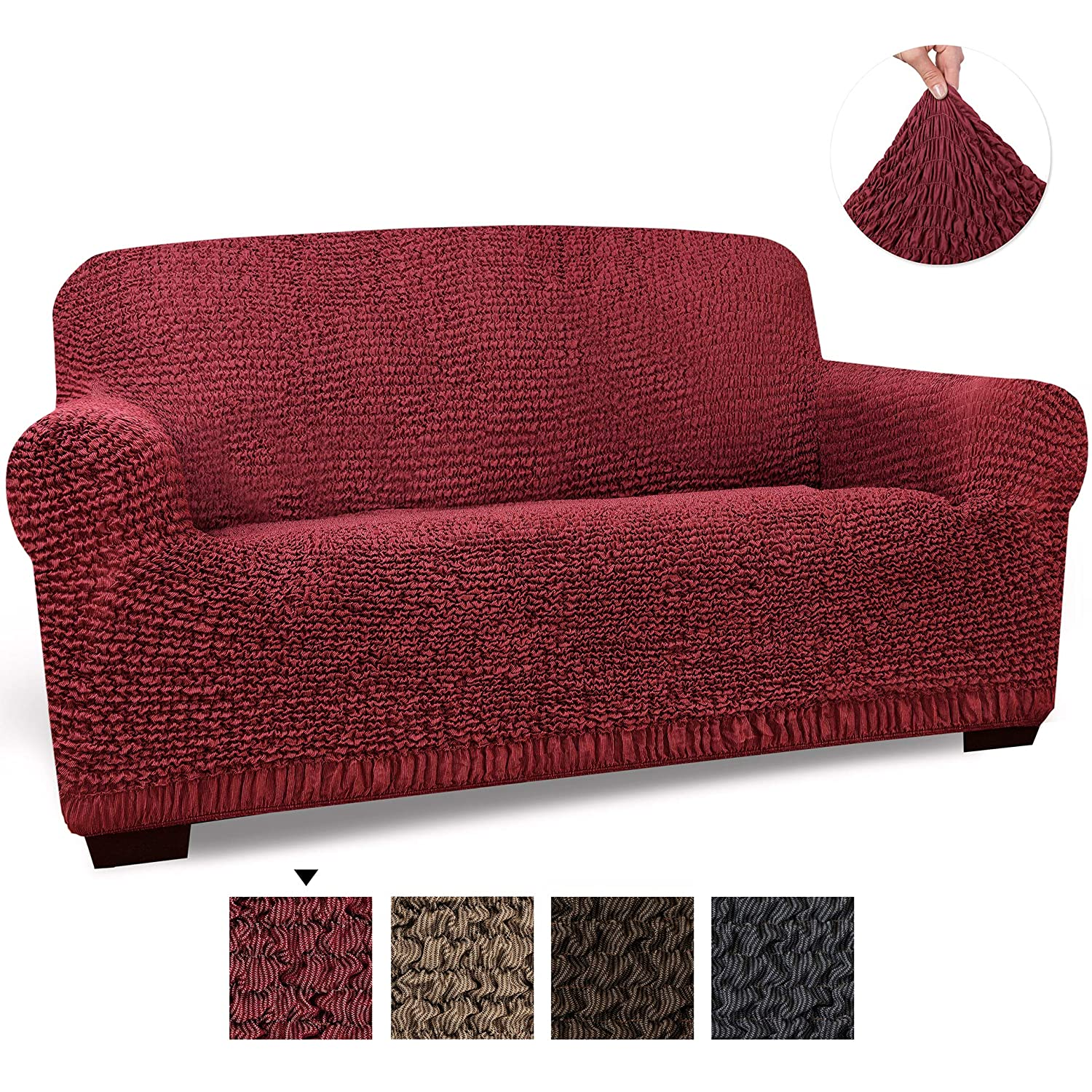 Loveseat Cover - Loveseat Slipcovers - Loveseat Couch Covers - Cotton Fabric Slipcovers - 1-piece Form Fit Stretch Stylish Furniture Cover - Mille ...