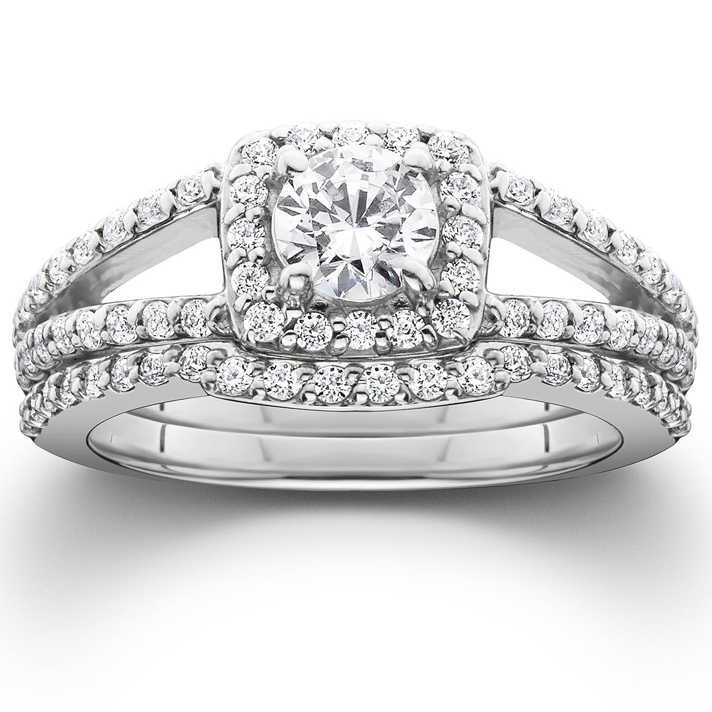 Amazon 1 20CT Pave Halo Split Shank Diamond Ring Set 14K