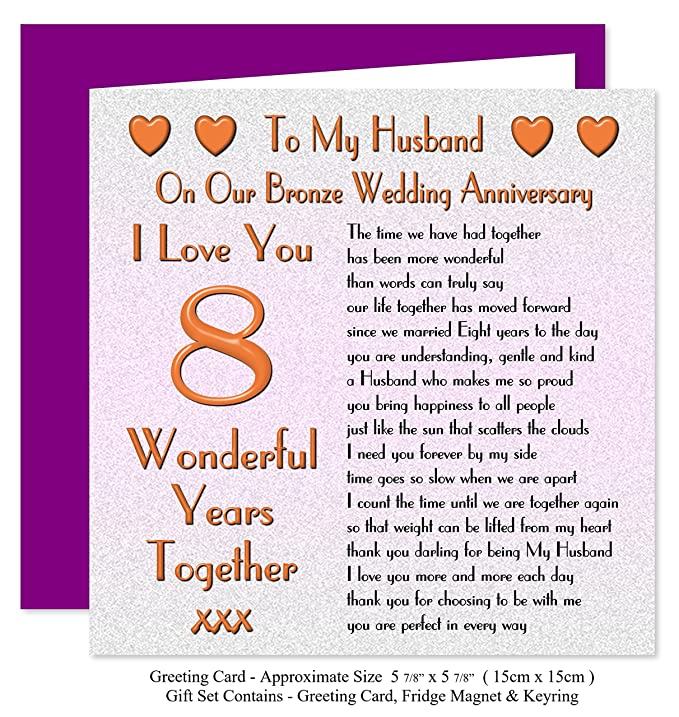 My Husband 8th Wedding Anniversary Gift Set Card Keyring Fridge