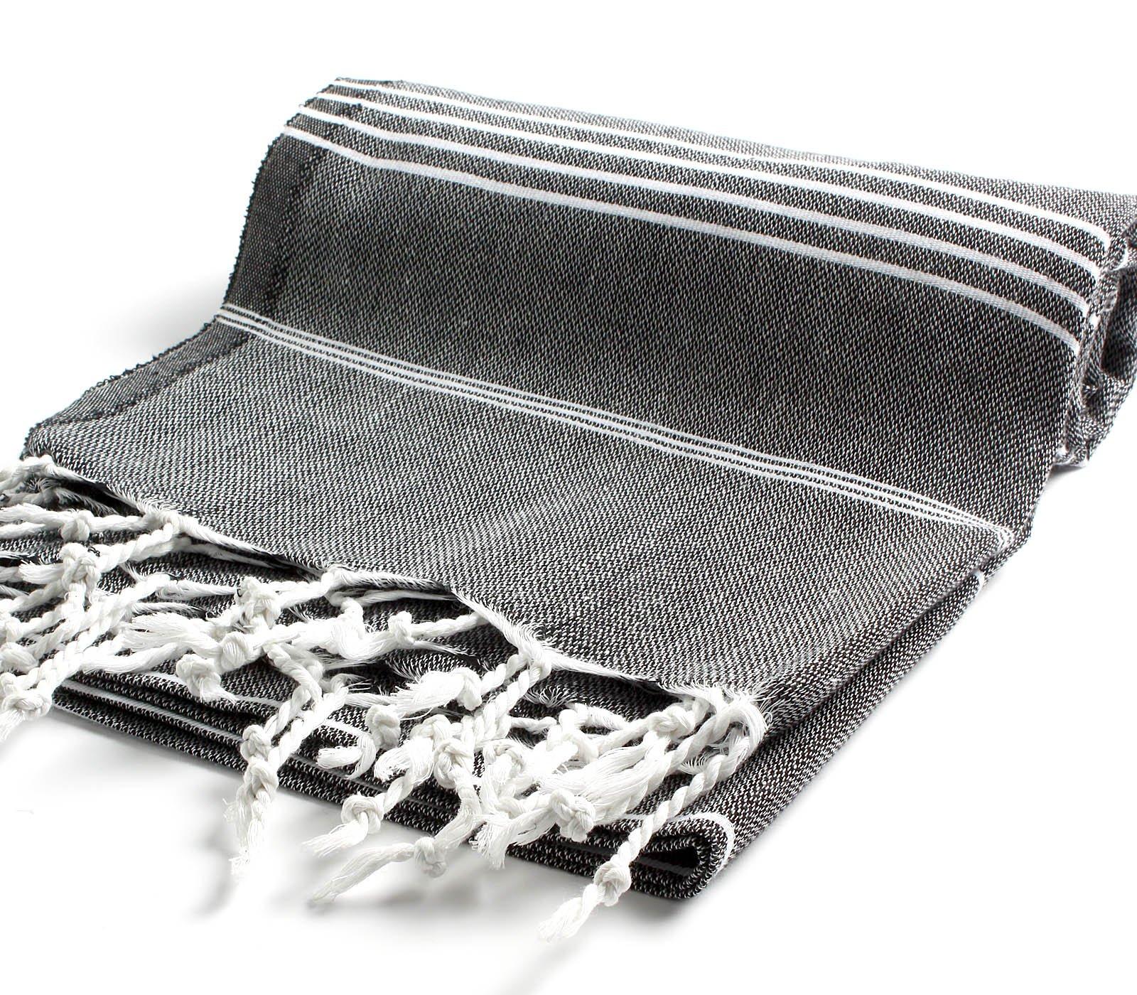 Cacala 100% Cotton Pestemal Turkish Bath Towel, 37 x 70, Black
