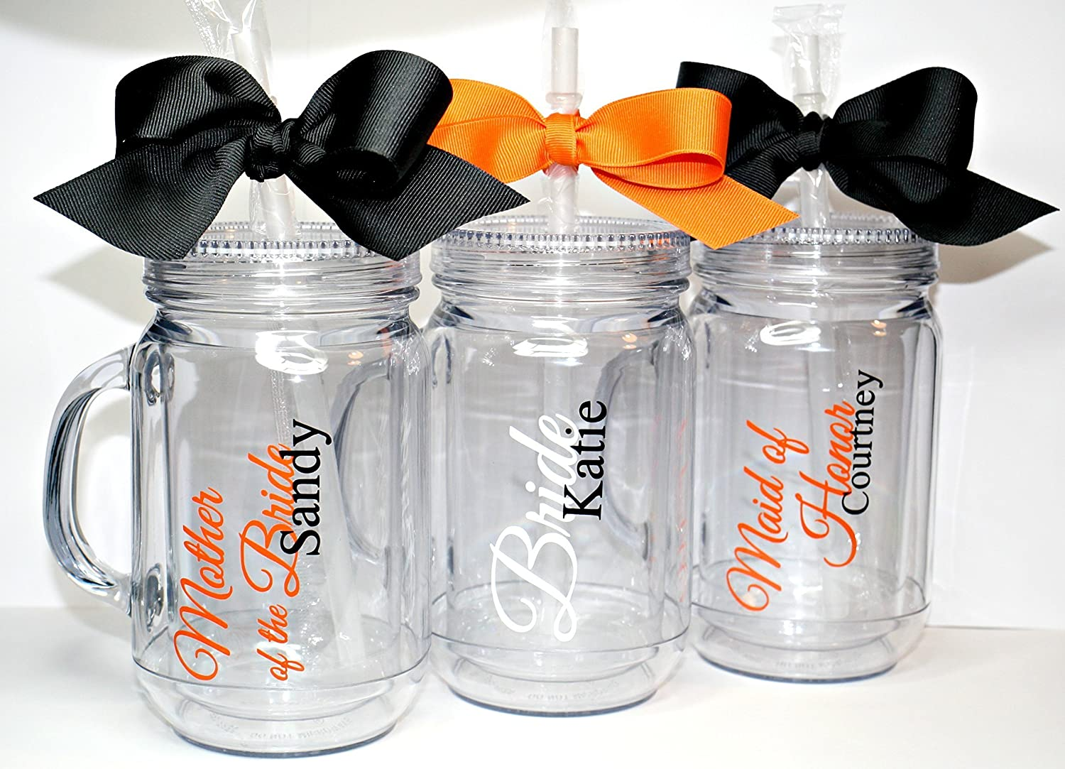 Amazon Com Set Of 3 Bridesmaids Maid Of Honor Wedding Party Personalized Mason Jar Tumblers Handmade