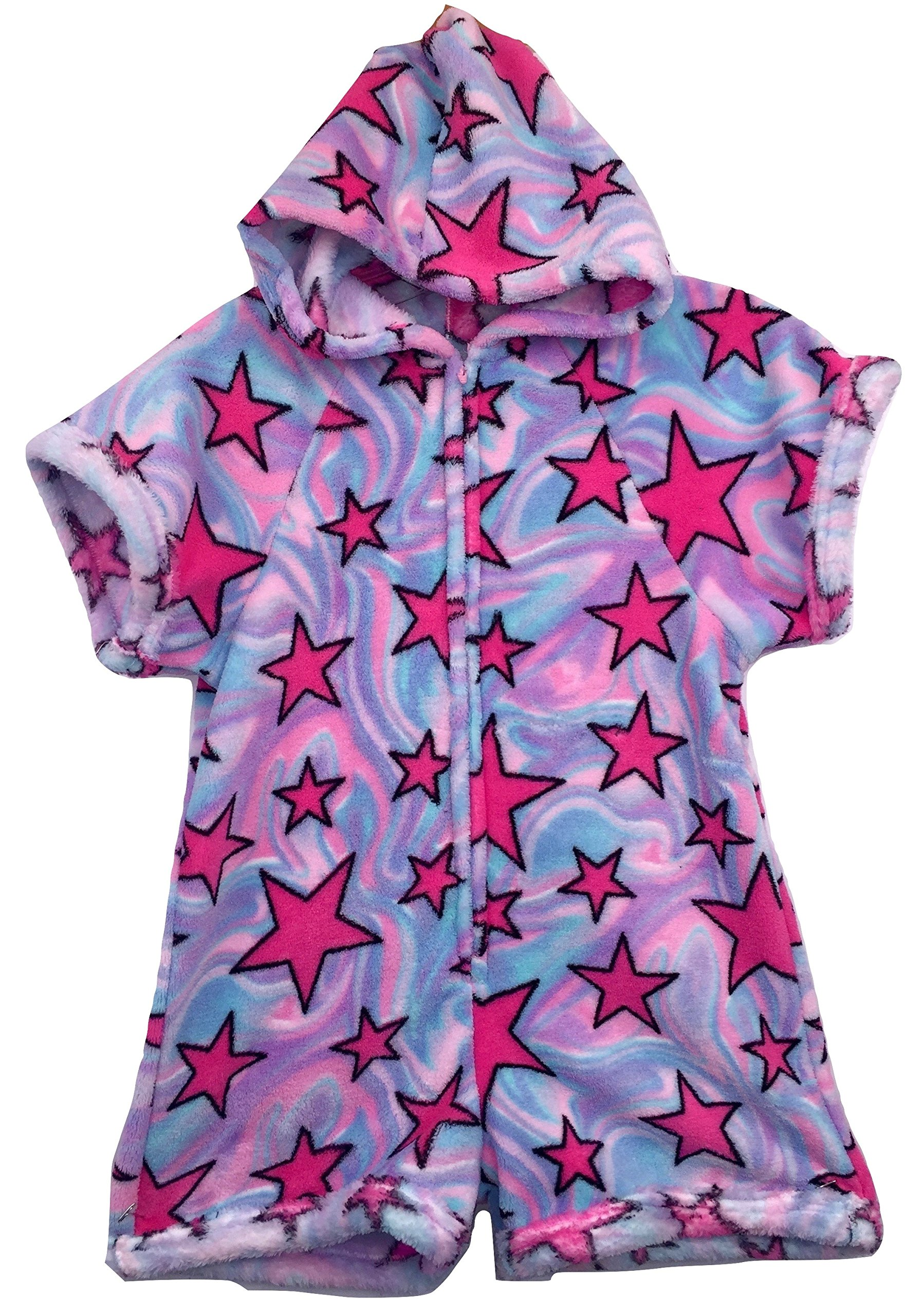 Made with Love and Kisses Fuzzy Plush Romper with Hood - Multi Swirly Stars - 10/12