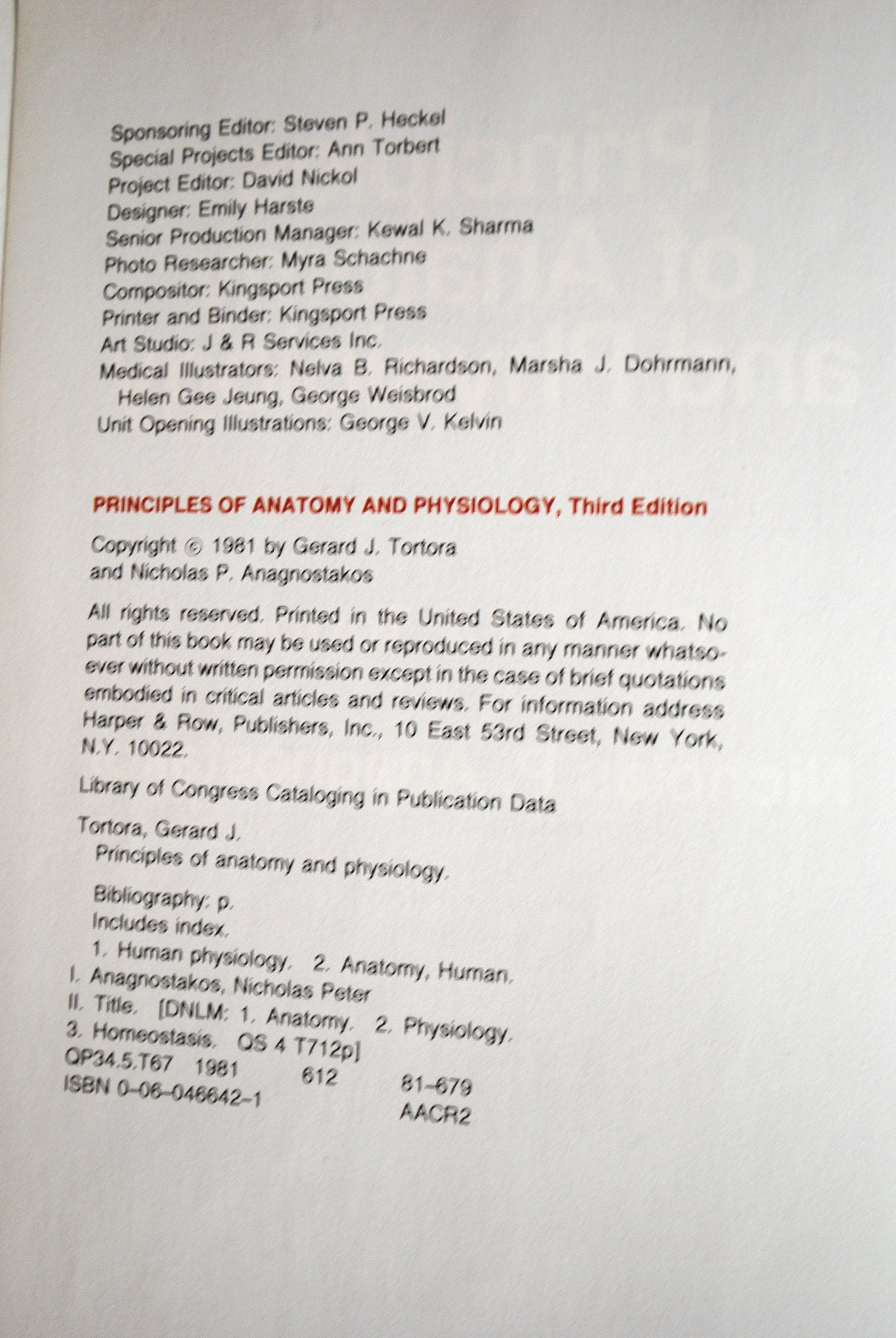 Principles of Anatomy and Physiology 3rd Edition By Tortora ...