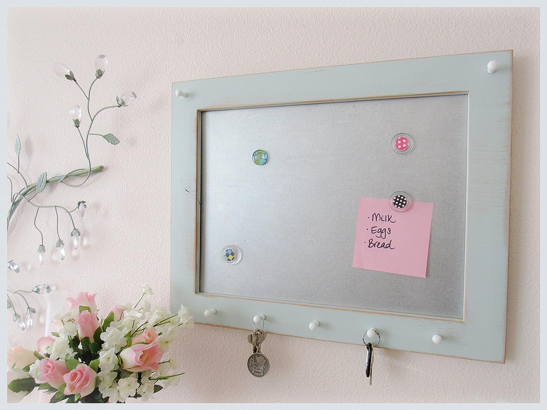Framed Magnetic Message Board and Key Holder