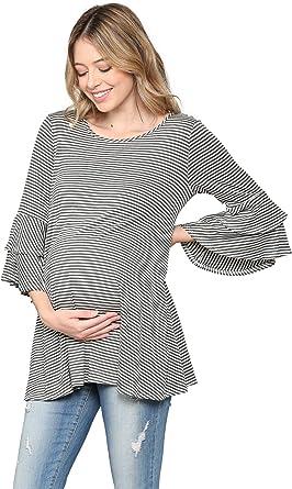 Laclef Hello Miz Women S Maternity Tunic Top Round Neck Ruffle 3 4 Bell Sleeve At Amazon Women S Clothing Store