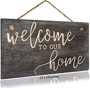 Welcome to Our Home Sign Big Welcome Sign 15x10 for Front Door Decor, Accent Piece for Wreath, Rustic Farmhouse Decor, Entryway Home Decor, Front Porch Decor. Laser Inscribed Handcrafted Finish