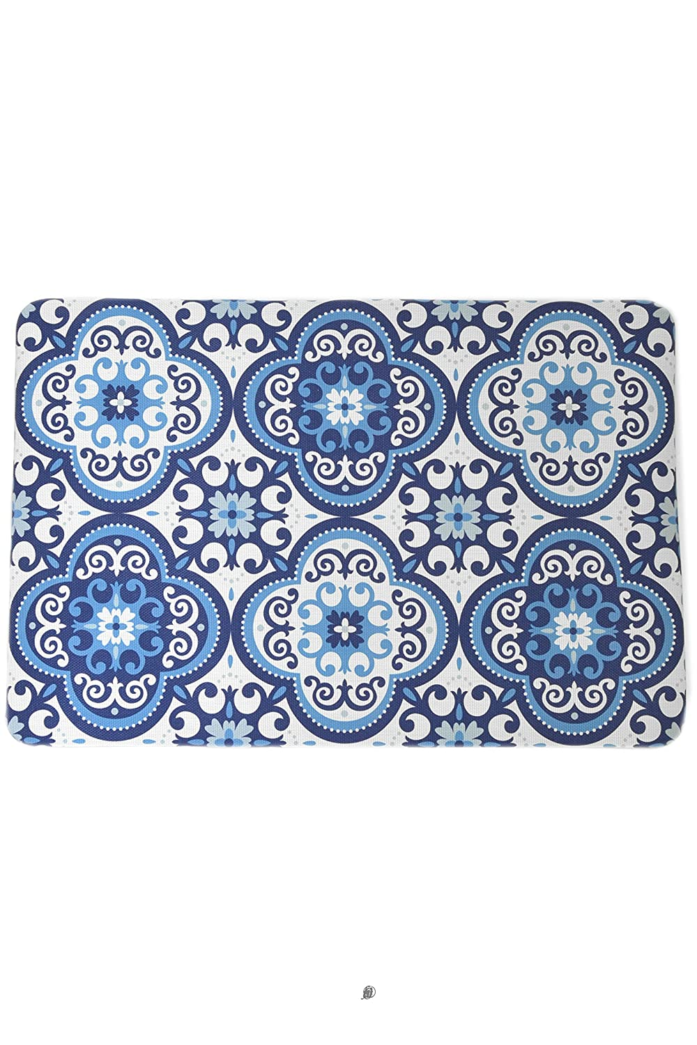American Chateau Blue & White Talavera Tile Design Rug Floor Bath Kitchen Mat with Non-Slip Backing
