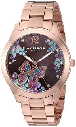 e1ec94845ac7b Akribos XXIV AK953 Women s Case with Genuine Swarovski Crystals and White  Mother-of-Pearl