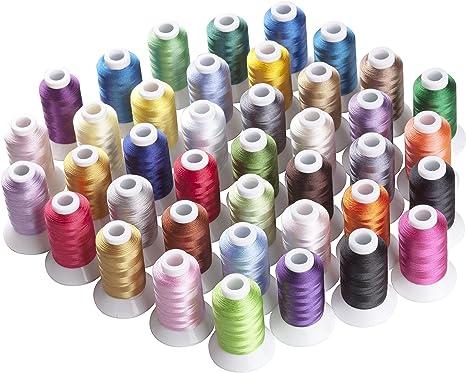 Simthreads 40 colores de poliéster hilo de bordar - 500 Metros ...