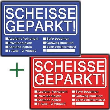 c538bdd7d9e03a Scheisse Geparkt lustiges Set aus 2 Blöcken Rot   Blau für Autofahrer die  genervt sind von