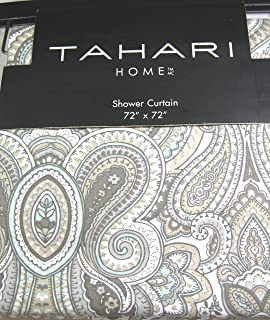 Tahari Luxury Cotton Blend Shower Curtain Gray Turquoise Taupe Grey Large Medallions Paisley Scroll Design