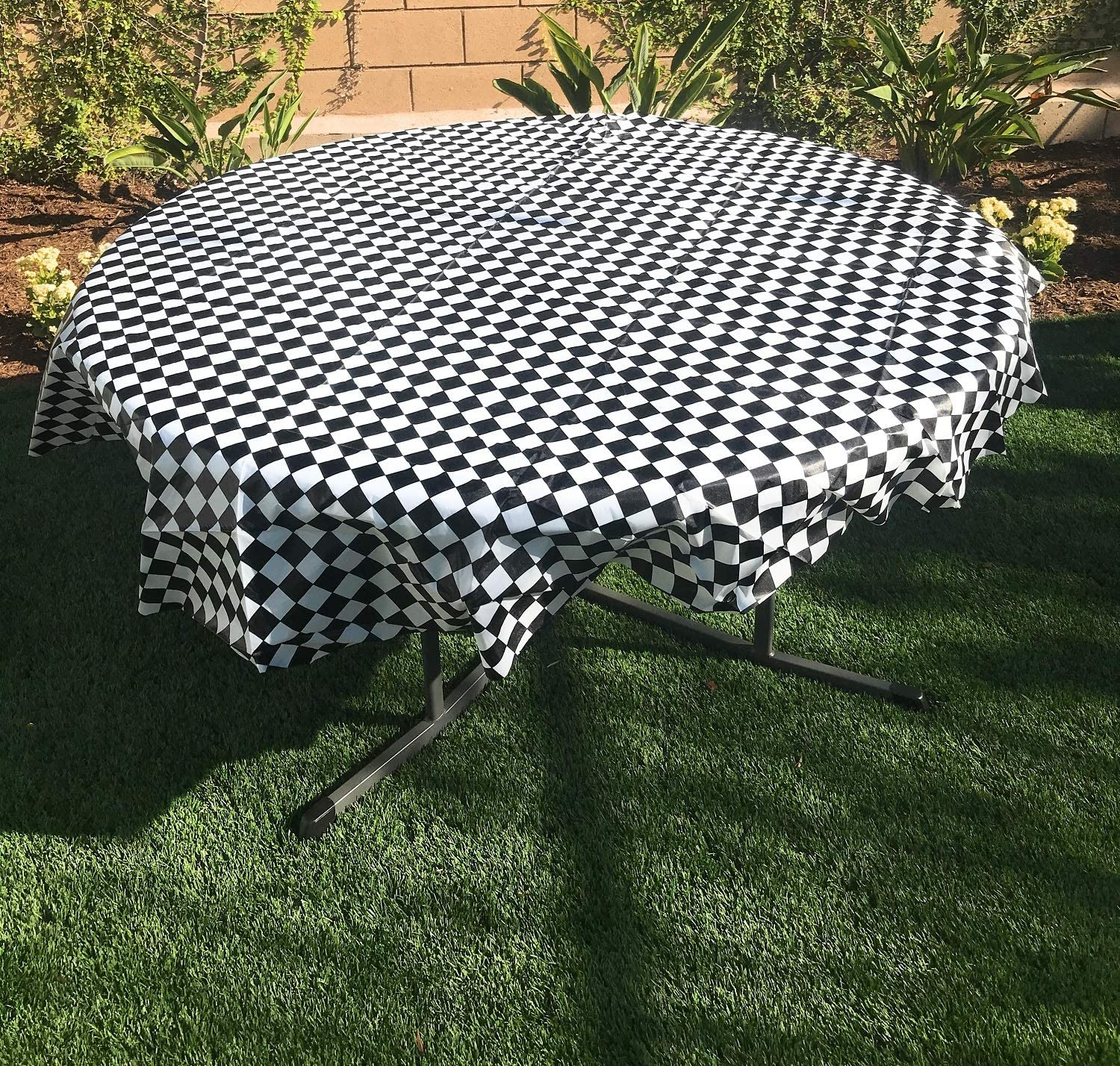"""Oojami Pack of 4, Black & White Checkered Flag Table Cover Party Favor/Checkered Tablecloth/Disposable Checkered Racing Table Cover (78"""" Round)"""