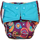 Superbottoms Cloth Diapers Plus Reusable All in One Diaper with 2 Organic Cotton Soakers and Dry Feel - Utsav