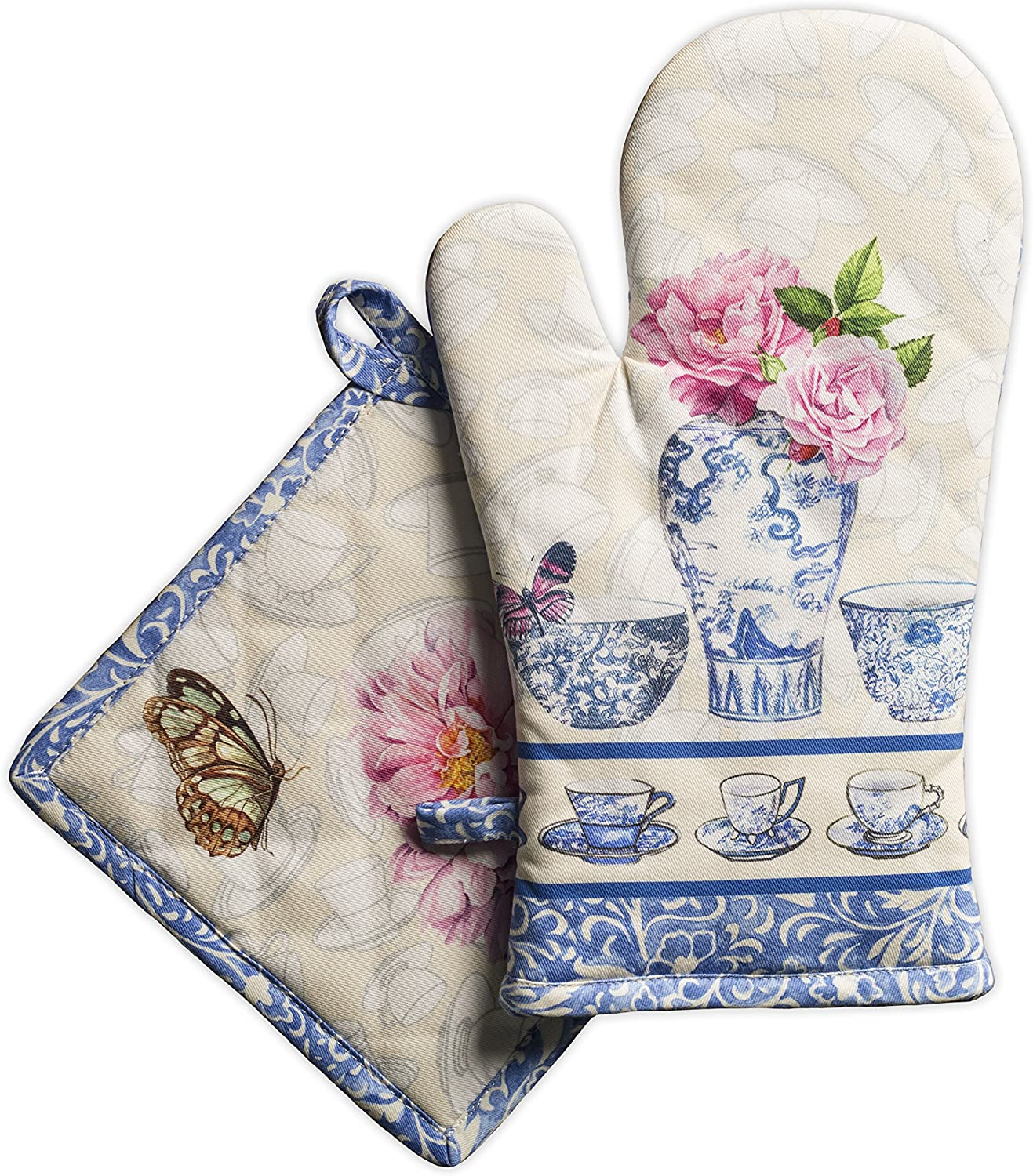 Maison d' Hermine Canton 100% Cotton Set of Oven Mitt (7.5 Inch by 13 Inch) and Pot Holder (8 Inch by 8 Inch)