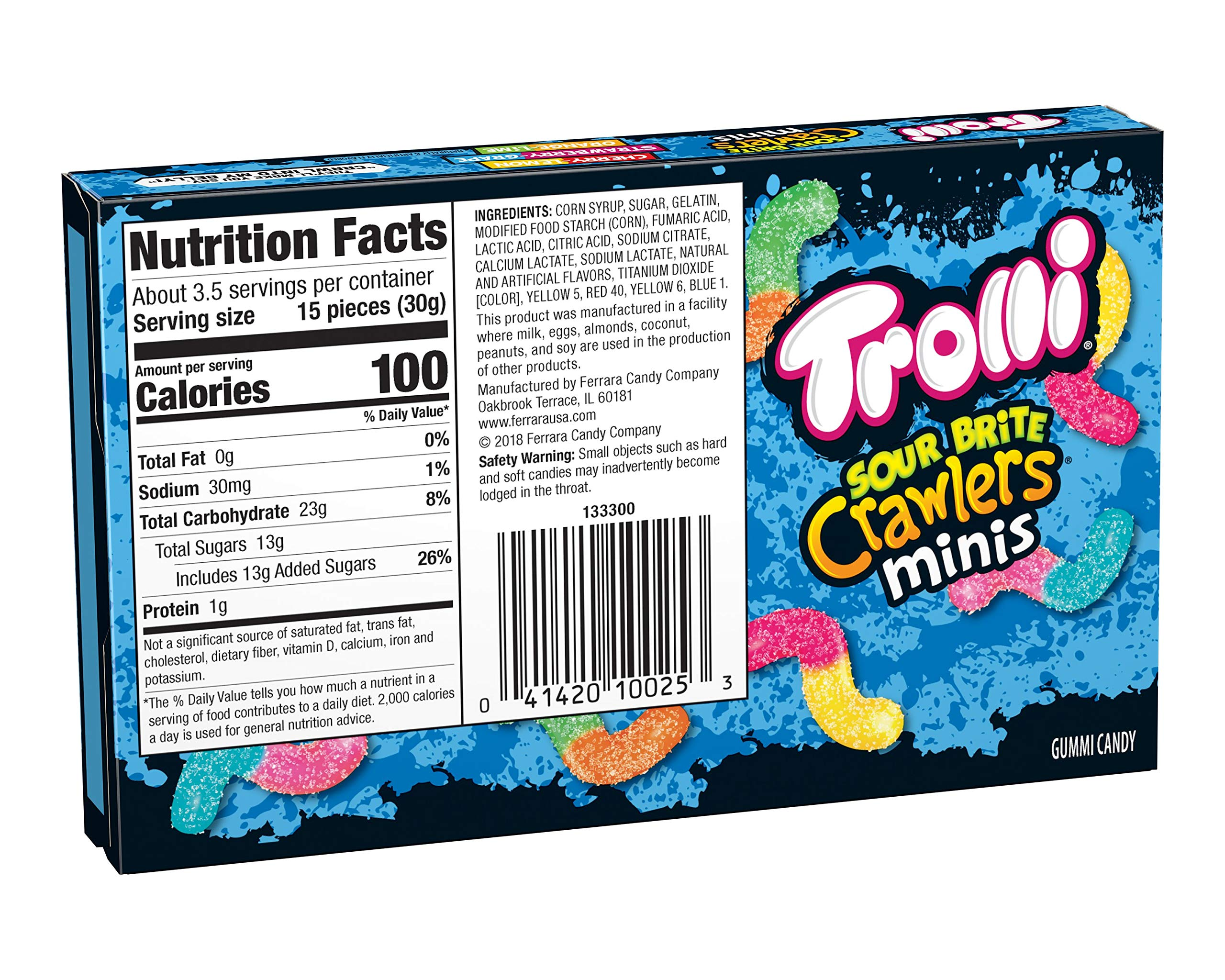 Trolli Sour Brite Crawlers Gummy Worms, 3.5 Ounce Theatre Box (Pack of 12) Sour Gummy Worms by Trolli (Image #4)