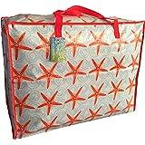Grand sac de rangement de 65 litres. Motif rouge Etoile de mer. Jouets, lavage et sac à linge