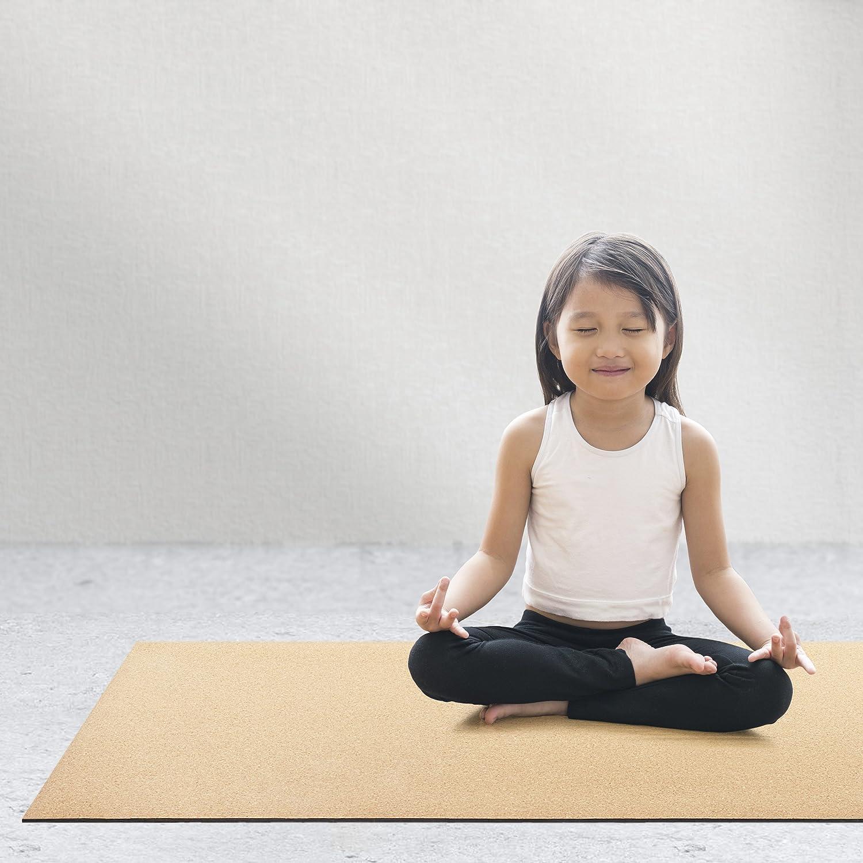 Amazon.com: Alfombra de yoga de corcho con hule natural, 72 ...