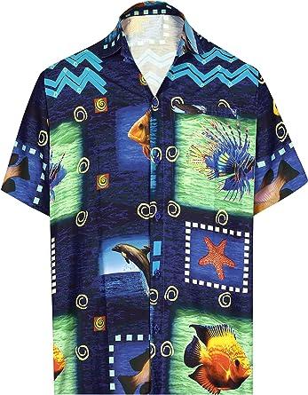 HAPPY BAY botón de la Camisa Hawaiana de la Playa de los Hombres Abajo de impresión Peces