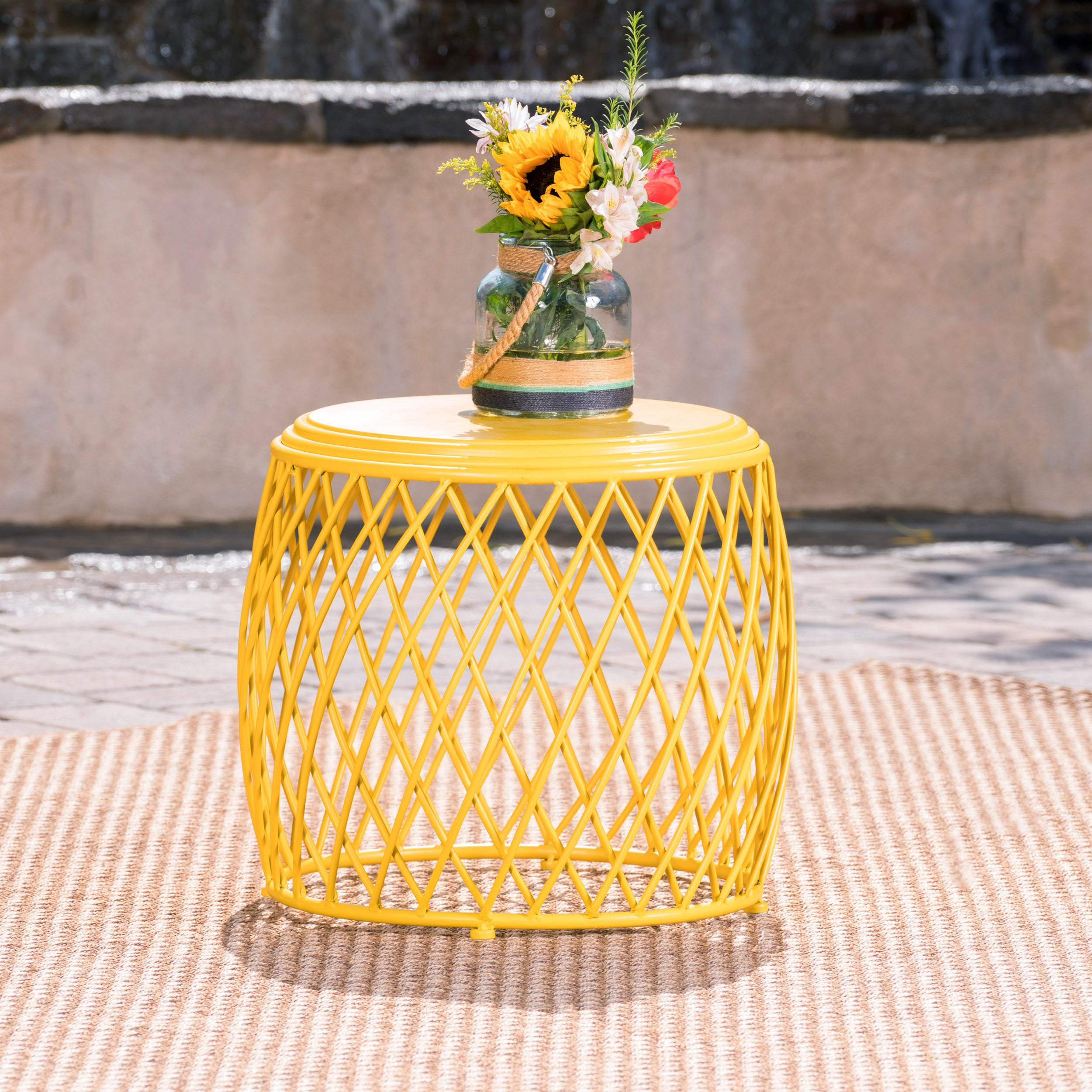 Christopher Knight Home 301944'' Alamera CKH Outdoor Accent Tables, Matte Yellow